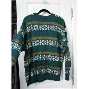 Vtg Green Ugly Tacky Christmas Nordic LS Sweater
